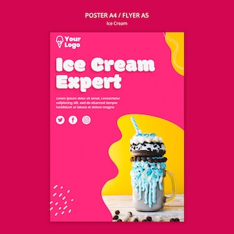 Ice cream expert poster template