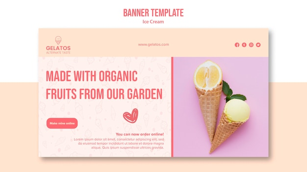Ice cream flavour banner template