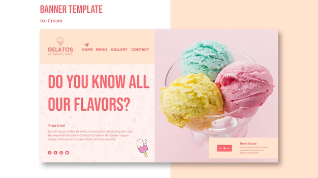 Ice cream flavours banner template