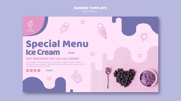 Ice cream menu banner template