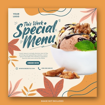 Ice cream menu promotion social media instagram post banner template