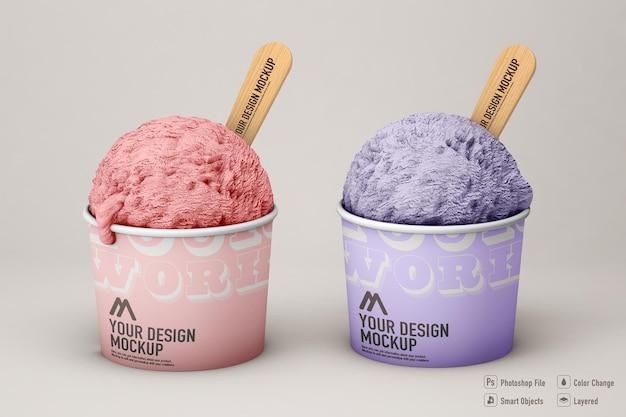 Макет мороженого, изолированные на мягком цветном фоне