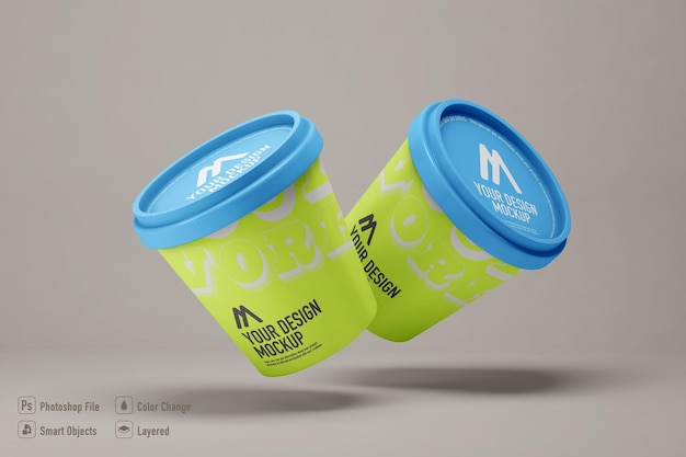 Ice cream mockup isolated on soft color background