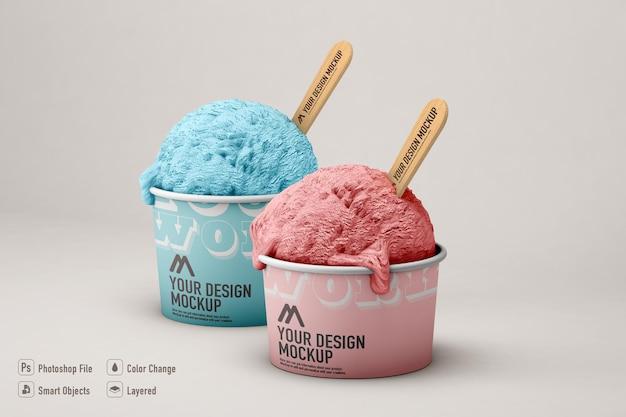 分離されたアイスクリームのモックアップ