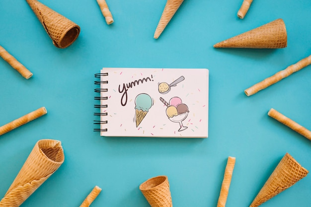 Ice cream mockup with notepad