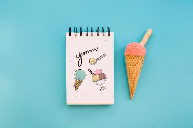 Ice cream mockup with notepad