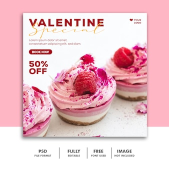 Ice cream pink template instagram post valentine