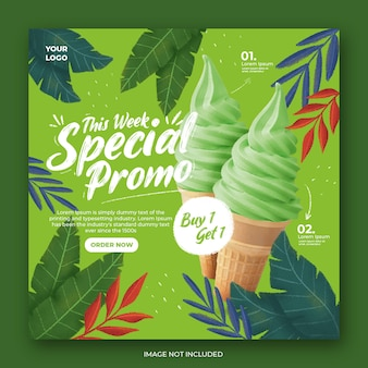Ice cream promotion social media instagram post banner template