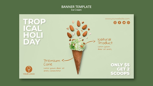 Ice cream shop banner template