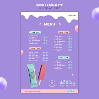 Menu della gelateria