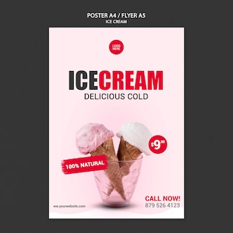 아이스크림 가게 포스터 템플릿