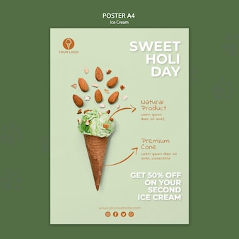Ice cream shop template poster