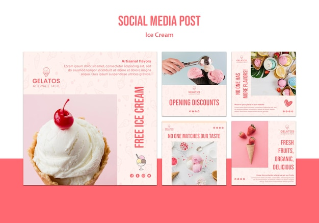 Ice cream social media post template
