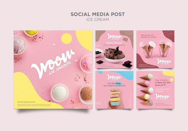 Modello di post social media gelato
