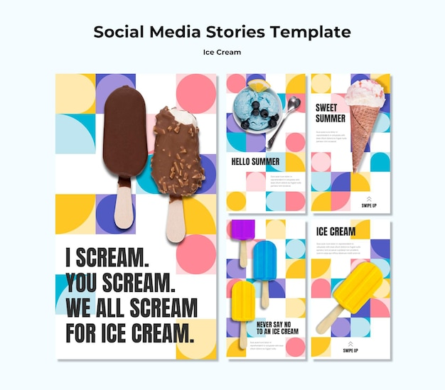 Шаблон историй о мороженом в социальных сетях