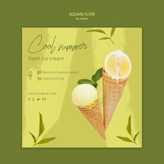 Ice cream square flyer template