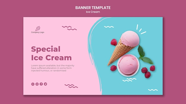 Ice cream store banner template