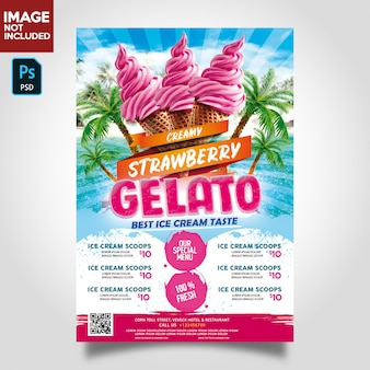 Ice cream store flyer template