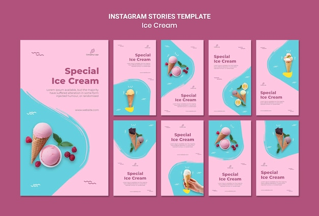 Ice cream store instagram stories template