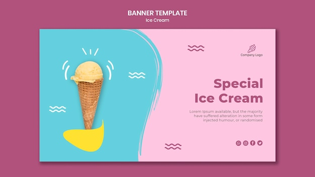 Ice cream store template banner
