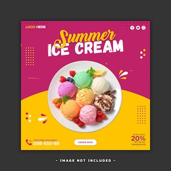 アイスクリーム夏のソーシャルメディア投稿テンプレートプレミアム