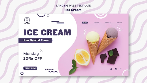 Целевая страница шаблона мороженого