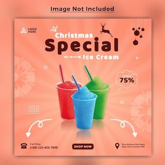 Ледяное преступление, меню еды, баннер в социальных сетях, шаблон для счастливого рождества