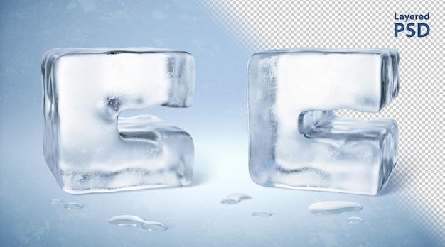 Ледяной куб 3d оказал букву с