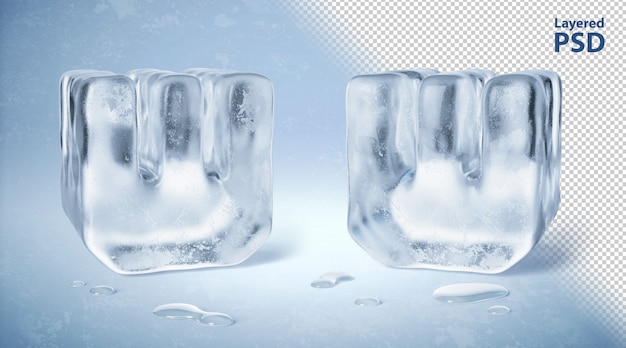 Ice cube 3d rendered letter w