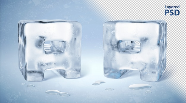 Ice cube 3d rendered letter a