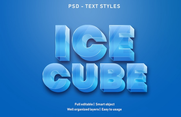 Ice cube text effects style editable psd