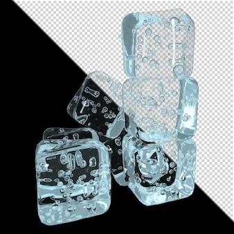 透明な背景の3dレンダリング上の角氷