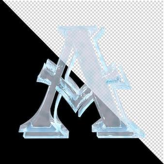 투명한 배경에 있는 아랍어 컬렉션의 얼음 편지. 3d 편지 a