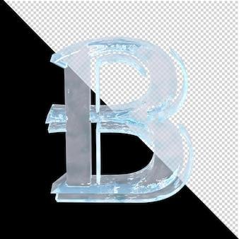 투명한 배경에 있는 아랍어 컬렉션의 얼음 편지. 3d 편지 b