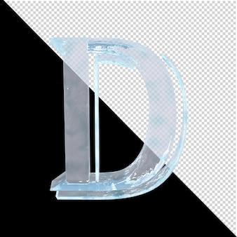 투명한 배경에 있는 아랍어 컬렉션의 얼음 편지. 3d 편지 d