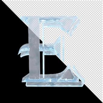 투명한 배경에 있는 아랍어 컬렉션의 얼음 편지. 3d 편지 e