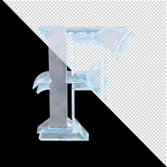 투명한 배경에 있는 아랍어 컬렉션의 얼음 편지. 3d 편지 f