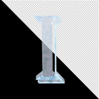 투명한 배경에 있는 아랍어 컬렉션의 얼음 편지. 3d 편지 나