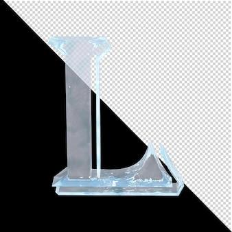 투명한 배경에 있는 아랍어 컬렉션의 얼음 편지. 3d 편지 l