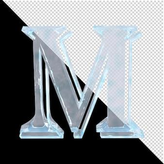 투명한 배경에 있는 아랍어 컬렉션의 얼음 편지. 3d 편지 m