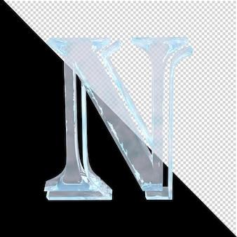투명한 배경에 있는 아랍어 컬렉션의 얼음 편지. 3d 문자 n