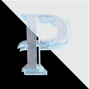 투명한 배경에 있는 아랍어 컬렉션의 얼음 편지. 3d 편지 p