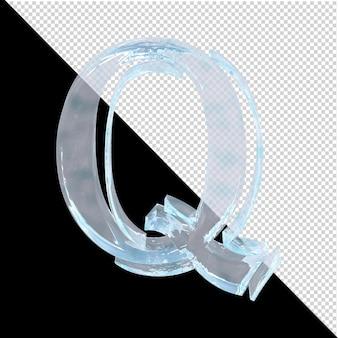 투명한 배경에 있는 아랍어 컬렉션의 얼음 편지. 3d 편지 q