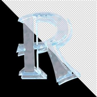 투명한 배경에 있는 아랍어 컬렉션의 얼음 편지. 3d 편지 r