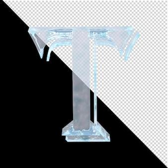 투명한 배경에 있는 아랍어 컬렉션의 얼음 편지. 3d 편지 t
