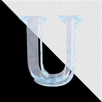 투명한 배경에 있는 아랍어 컬렉션의 얼음 편지. 3d 편지 u