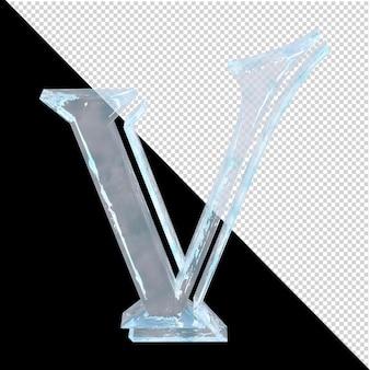 투명한 배경에 있는 아랍어 컬렉션의 얼음 편지. 3d 편지 v