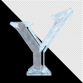 투명한 배경에 있는 아랍어 컬렉션의 얼음 편지. 3d 편지 y