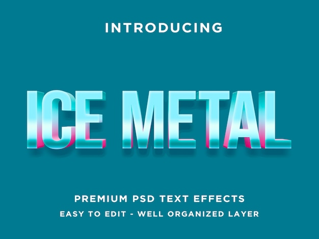 Ice metal 3d text effect template psd