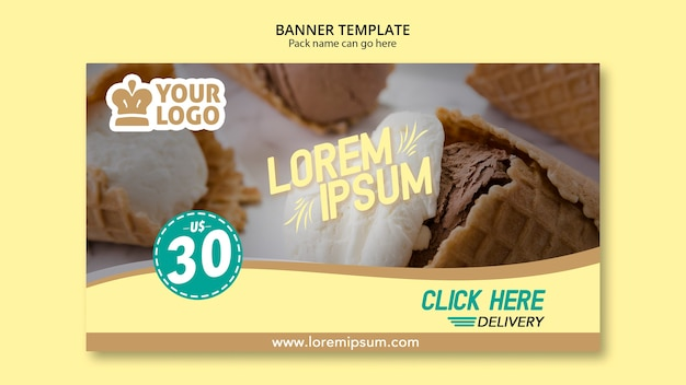 Ice scream cones banner template